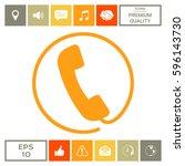 telephone handset surrounded by ... | Shutterstock .eps vector #596143730