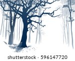foggy forest. hand drawn vector ... | Shutterstock .eps vector #596147720