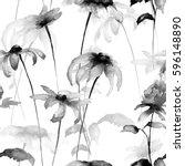 seamless pattern with gerbera... | Shutterstock . vector #596148890