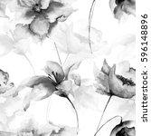 seamless wallpaper with flowers ...   Shutterstock . vector #596148896