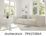 white room with sofa and green... | Shutterstock . vector #596153864