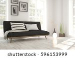 white room with sofa and green... | Shutterstock . vector #596153999