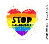 stop homophobia. support lgbt.... | Shutterstock .eps vector #596157278