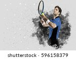 tennis player with a blue... | Shutterstock . vector #596158379