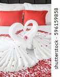 two swans and heart made from... | Shutterstock . vector #596159858