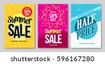 summer sale vector banner... | Shutterstock .eps vector #596167280