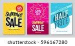 summer sale vector banner... | Shutterstock .eps vector #596167280