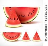 set of sliced ripe red... | Shutterstock .eps vector #596167283