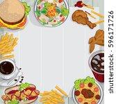 menu food restaurant drawing...   Shutterstock .eps vector #596171726