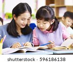 two asian elementary... | Shutterstock . vector #596186138