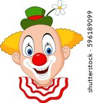 cartoon happy clown head | Shutterstock .eps vector #596189099