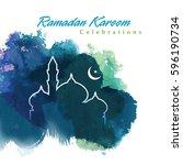 ramadan greetings background.... | Shutterstock .eps vector #596190734