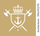 a royal crest in vector format... | Shutterstock .eps vector #596192270
