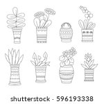 home plants  in linear style. ...   Shutterstock .eps vector #596193338