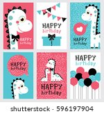 set of six fun birthday card... | Shutterstock .eps vector #596197904