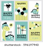 set of six fun birthday card... | Shutterstock .eps vector #596197940