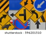 many kinds of colored traffic... | Shutterstock . vector #596201510