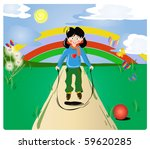 girl jumping on the road | Shutterstock .eps vector #59620285