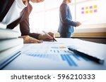 team work process. young... | Shutterstock . vector #596210333