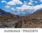 himalaya mountain range... | Shutterstock . vector #596221874