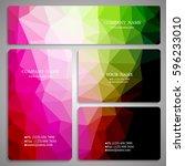 set of multicolored polygon...   Shutterstock .eps vector #596233010