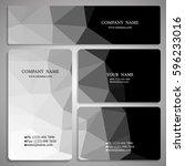 set of monochrome polygon... | Shutterstock .eps vector #596233016