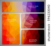set of multicolored polygon... | Shutterstock .eps vector #596233040