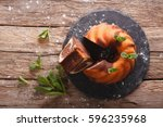 marble pound cake closeup on... | Shutterstock . vector #596235968