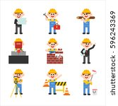 building construction workers... | Shutterstock .eps vector #596243369