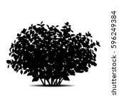Silhouette Bush With Leaves An...