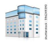 office building with entrance... | Shutterstock .eps vector #596249390
