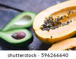 exotic fruits selective focus | Shutterstock . vector #596266640