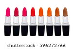 set of red lipsticks isolated... | Shutterstock . vector #596272766