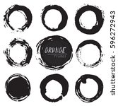 set of round grunge vector... | Shutterstock .eps vector #596272943
