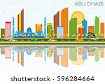 abu dhabi skyline with color... | Shutterstock .eps vector #596284664