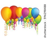 colored many party balloon with ... | Shutterstock .eps vector #596298488