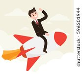 businessman on rocket. startup... | Shutterstock .eps vector #596301944