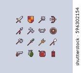 set of sixteen pixel art game...