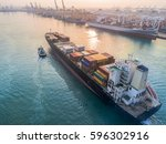 container ship commercial... | Shutterstock . vector #596302916