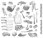 vector collection of sketches... | Shutterstock .eps vector #596303660