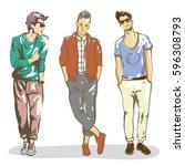 young stylish guys hand drawn... | Shutterstock . vector #596308793