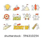 cartoon set of sketch little... | Shutterstock .eps vector #596310254
