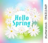 hello spring green card design  ...   Shutterstock .eps vector #596311469