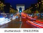 arc de triomphe in paris arch... | Shutterstock . vector #596315906