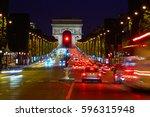 arc de triomphe in paris arch... | Shutterstock . vector #596315948