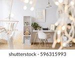 cozy stylish girl's apartment... | Shutterstock . vector #596315993