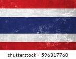 thailand   thai flag on old... | Shutterstock . vector #596317760
