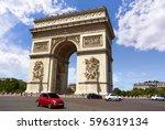 arc de triomphe in paris arch... | Shutterstock . vector #596319134