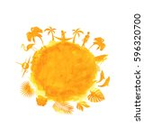 illustration tropical summer...   Shutterstock .eps vector #596320700