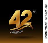 42 years golden anniversary... | Shutterstock .eps vector #596325200